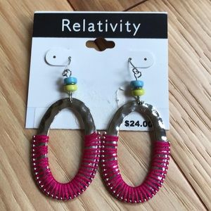 Silver and Bright Pink round dangling earrings